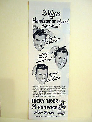 Vintage 1940's LUCKY TIGER 3 Purpose HairTonic Barbershop Litho Sign Ads
