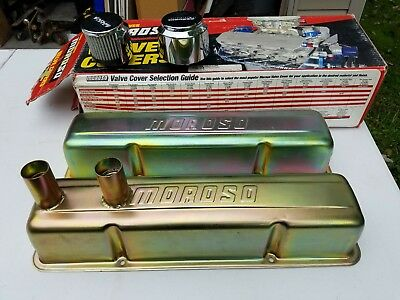 Nos Vintage Chevrolet Chevy SBC  Gold Moroso Valve Covers New In Box