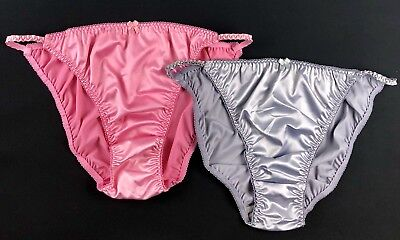 Satin String Bikini Panties · Two Pairs - Pink & Silver · XXL/9