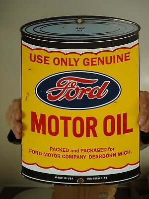 Vintage 1932 Ford Motor Oil Can Porcelain Enamel Dealership Advertising Sign