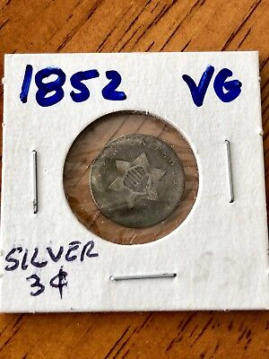 1852 3Cs Us 3 Cent 3¢ Silver Coin - Very Good (Vg) Condition