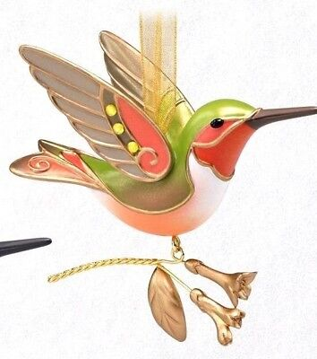 HALLMARK Keepsake 2018 HUMMINGBIRD SURPRISE Golden Pink GOLD ORNAMENT Repaint