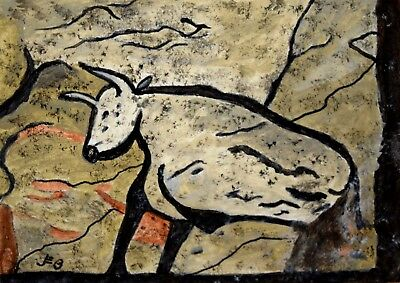 ACEO Cave drawing/painting 'White Bull'..original acrylic by JEB