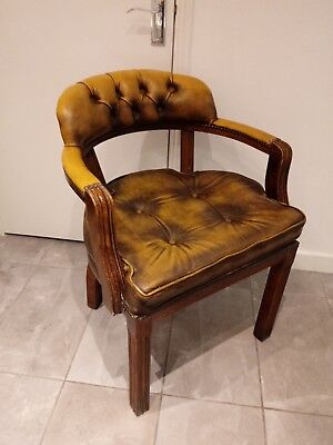 Antique Victorian Mahogany Desk Chair - Vintage Leather Seat . may deliver