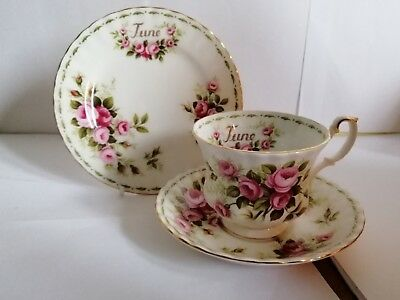 Royal Albert Flower Of The Month Series JUNE ROSES tea cup saucer side plate 1st
