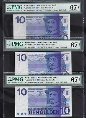 Netherlands 10 Gulden 1968 3 x PMG Superb GEM UNC 67 P91