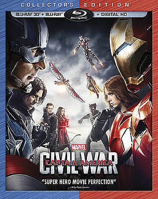 BLU-RAY Captain America: Civil War (Blu-Ray) NEW Chris Evans 3D