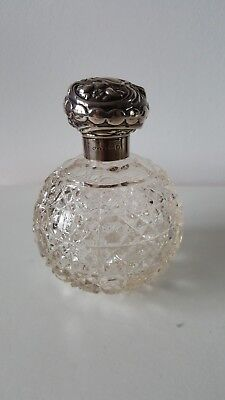 Antique Sterling Silver Topped cut glass Scent Bottle