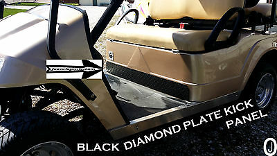 Club Car DS Golf Cart Black Rubber Coated Aluminum Diamond Plate Kick Panel