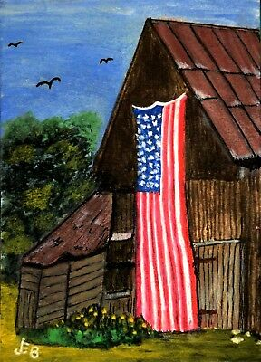 ACEO  'Free Country' barn, flag ..original acrylic by JEB