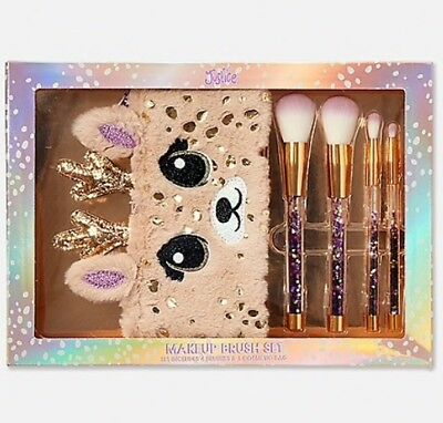 NWT Justice Deer Makeup Brush Set w/ Adorable Fuzzy Faux Fur Cosmetic Bag!