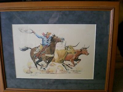 "Cowboy Artist Charley Paris Litho ~ Matted Suede Leather & Signed!  ""Stampede"""