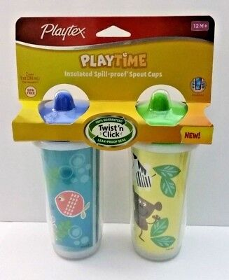 Playtex Playtime Twist n Click 2pk Baby Toddler Insulated Spout Sippy Cups 12M+
