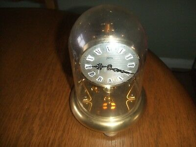 Vintage Koma  small brass Anniversary Clock, plastic dome, for spares or repair