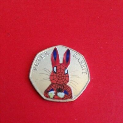 Coloured Uncirculated 2016 Peter Rabbit 50P Coin Spiderman
