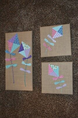 New handmade Pictures for little girls room or baby Nursery Quilt quilted kites