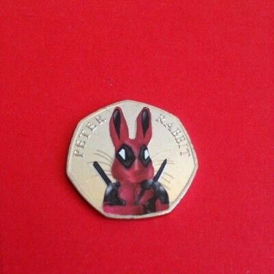 Coloured Uncirculated 2016 Peter Rabbit 50P Deadpool