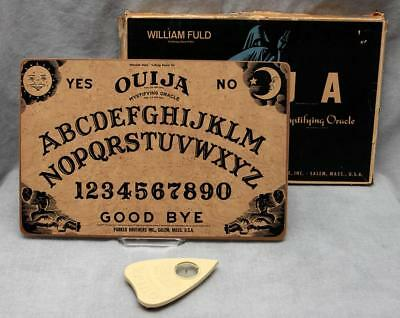 Complete Vtg Rare 1960s William Fuld Parker Brothers Wooden Ouija Board Art Deco