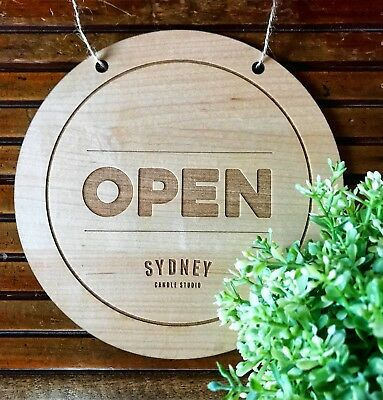 Open / Closed Shop Personalised Hanging Sign - Round Wooden Open / Closed Sign