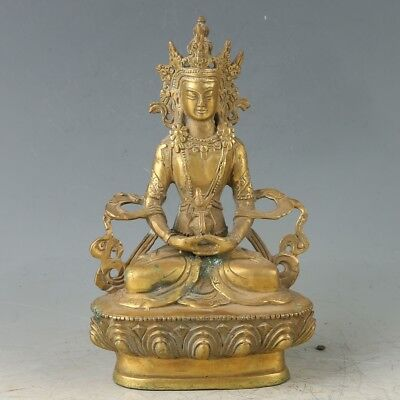 Old Brass Hand Made Carved Figure Of The Buddha Statue