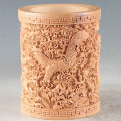 Chinese Bamboo Hand Carved Dragon Brush Pot