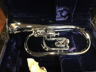 F.E. Olds Ultratone Fullerton Nickel Silver Bugle Horn With Case Mint condition!