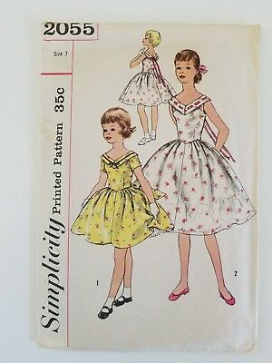 Vintage Simplicity Sewing Pattern 2055 Girls Size 7 Dress Mid Century