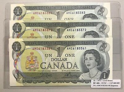 1973 -- $1 Bank of CANADA Paper note -- Crow-Bouey BC-46b Prefix AMC (Gem UNC)