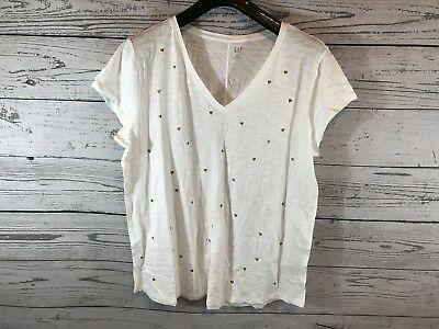"GAP Metallic /""Rose Everyday/"" Print T-Shirt For Women in Gray Size XS M L"