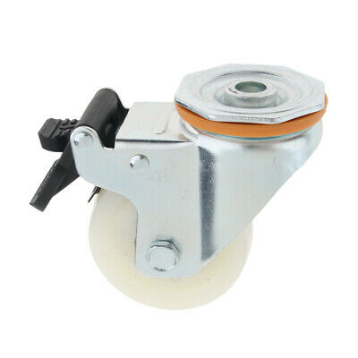 360 Rotated PP Industrial Caster Flat Dual Brake Double Bearing Caster Wheel