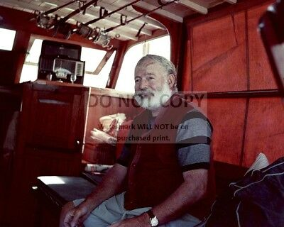 Ernest Hemingway In The Cabin Of His Boat, Pilar 1950 - 8X10 Photo (Rt618)