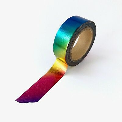 Washi Tape Foil Rainbow Holographic Metallic Gilded 15mm x 10m