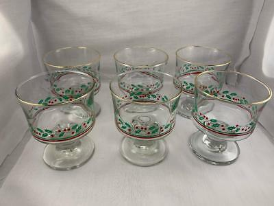 Vintage 1984 Arby's Christmas Holly Sherbets Drinking Glasses Set Of 6
