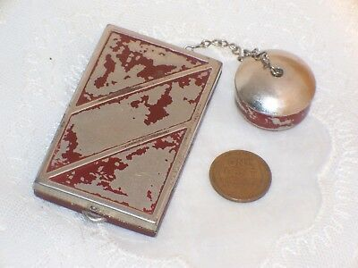 Vintage Art Deco Powder & Rouge RED COMPACT with ATTACHED LIP POT lipstick