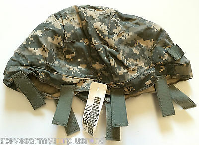 ~Nwt! Us Military Ach Helmet Cover W/ Nvg Flap + Ir Tabs Acu Lg/xl Made In Usa!