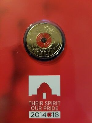 2018 $2 'C' Mintmark Remembrance Day Armistice Centenary - Red Poppy Coin.