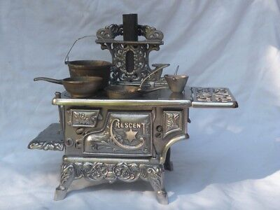 VERY RARE c. 1900 Cresent Cast Iron Toy Stove, Cast Nickel Stove Antique!