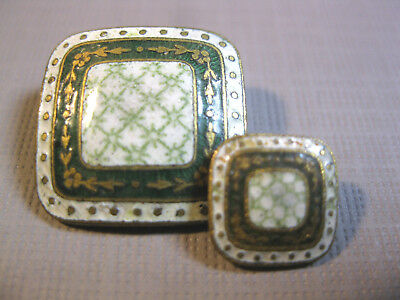 "Antique Green,Gold & White Calico Enameled Square Buttons 3 (11/16"") & 6 (6/16"")"