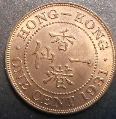Hong Kong  1931 KGV  1 Cent Coin Nice  aUNC / UNC  Red