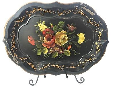 Antique Toleware Metal Hand Painted Scalloped Tray Chippendale Black Gilt Roses