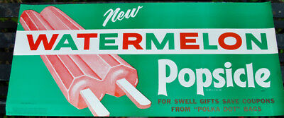 NOS 1955 dated VINTAGE WATERMELON POPSICLE STORE DISPLAY SIGN -ORIGINAL  NO RES