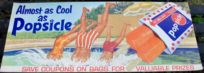 NOS 1964 dated VINTAGE   POPSICLE ICES     STORE DISPLAY SIGN -ORIGINAL  NO RES