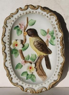 Robin Bird on Branch Figure w-3-D Flowers Wall Hanging Decorative Plaque-Homco