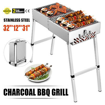 Stainless Steel Rotisserie Charcoal BBQ Grill Picnic Portable Camping Griller