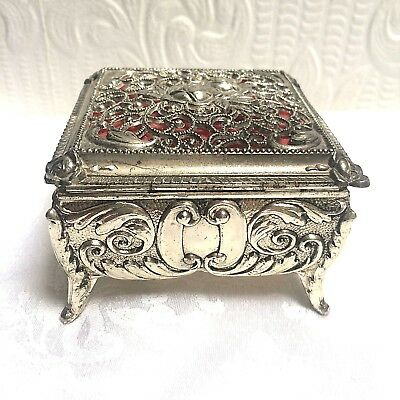 Beautiful ANTIQUE Filigree Silver Repousse Vintage Valentine's Day Jewelry Box