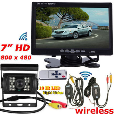 "Wireless IR Night Vision Backup Rear View Camera +7"" HD Monitor for RV Truck Bus"