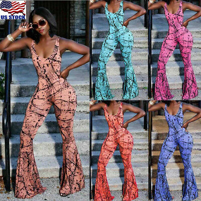 Fashion Women Clubwear Playsuit Casual Sleeveless V Neck Party Jumpsuit&Romper