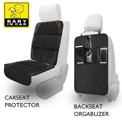 Waterproof Car Seat Protector+Kick Mat Auto Seat Back Cover Organizer Pockets US