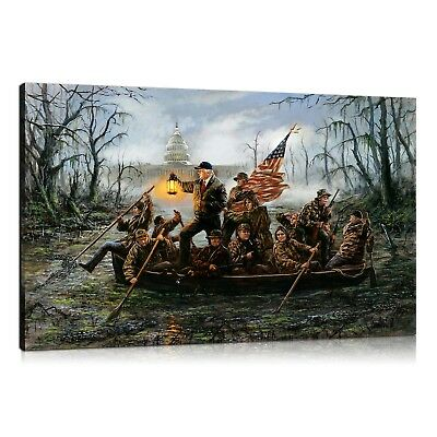 HD Print Oil Painting Home Decor Art on Canvas Trump Crossing The Swamp Unframed