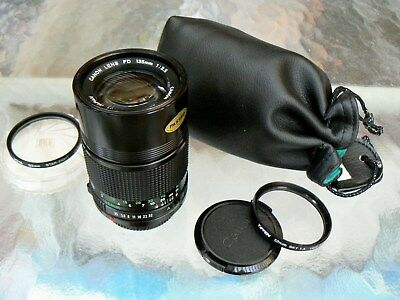 Canon Fd 135Mm F3.5 Lens With Two Filters & Lens Case *manual Focus Lens *mint